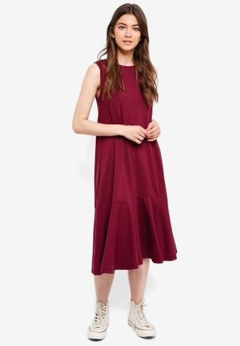 Something Borrowed red Sleeveless Fluted Hem Midi Dress A55BEAAA2260C7GS_1