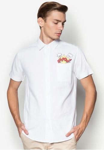 印花口袋短袖襯衫, zalora時尚購物網評價服飾, 印花襯衫