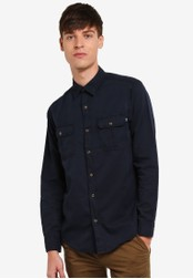 Timberland blue and navy Long Sleeve Gale River Garment Dye Regular Shirt TI063AA0SB8KMY_1