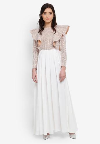 Zalia white Fit & Flare Lace Frill Dress F48BFAA4F9D40EGS_1