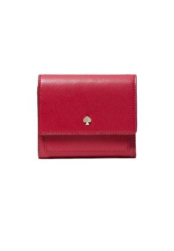 Kate Spade red Kate Spade Mila Trifold Flap Wallet Cerise pwr00299 98ABBAC4AC395FGS_1