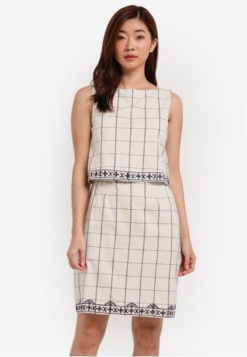 ZALORA white Double Layer Checkered Dress 9839BAA95B2514GS_1