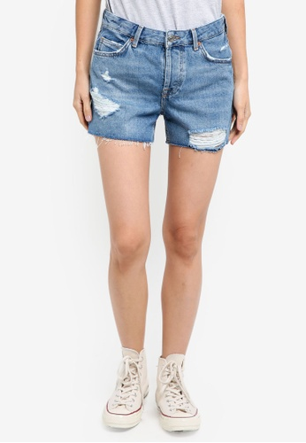 TOPSHOP blue Moto Ashley Shorts 8AC09AAFAA58CFGS_1