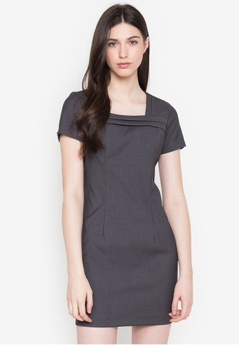 Well Suited grey Short Sleeve Mini Dress 99A78AA5C74F23GS_1