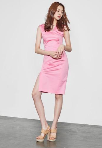 側開叉V 領無袖鉛esprit au筆連身裙, 服飾, 洋裝