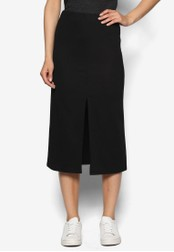 ZALORA black Basics Midi Skirt with Front Slit AQLSEAA0000075GS_1