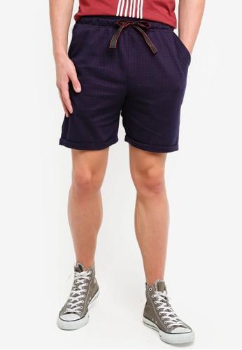 UniqTee 海軍藍色 格紋抽繩棉短褲 E5DB7AA34297E1GS_1
