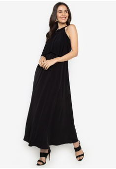 c07056fa621e0 ccicci black Harlow Halter Ruffled Neck Maxi Dress C9531AA8F60FD0GS 1
