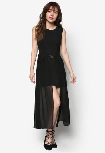 薄紗腰帶無袖連身esprit taiwan裙, 服飾, 洋裝