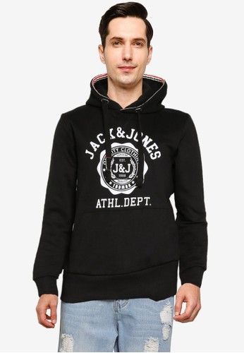 Jack & Jones black Logo Sweat Hoodie A3FA9AA834F4EBGS_1