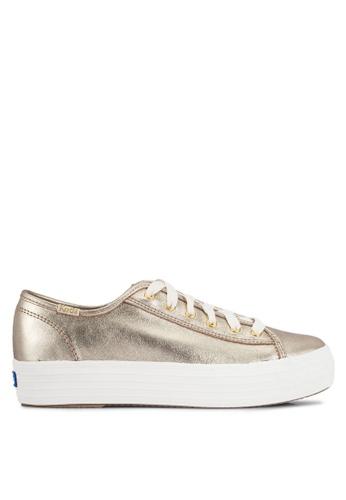 Keds gold Triple Kick Metallic Suede Sneakers KE942SH0RHVQMY_1