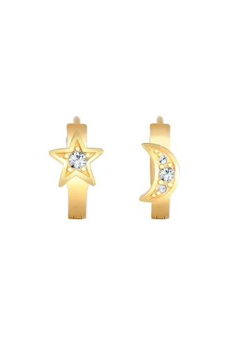 ELLI GERMANY white Earrings Stars Moon Crystals F067BAC91021EBGS_1