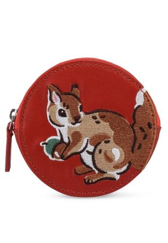 Cath Kidston orange Garden Squirrels Round Coin Purse 4C4C1AC5E4E884GS_1