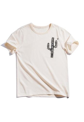 Twenty Eight Shoes beige VANSA Cactus Print Short Sleeve Tee Shirt VCM-T2001042 0DD5CAA5CAE359GS_1