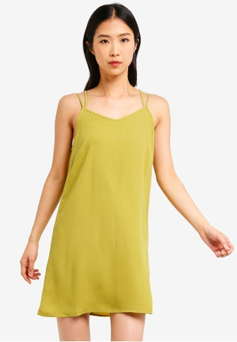 ZALORA BASICS green Basic Double Straps Cami Dress 5D6CCAA708DE57GS_1