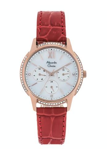 Alexandre Christie red Alexandre Christie Jam Tangan Wanita - Red Rosegold - Leather Strap - 2720