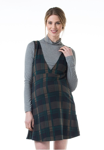 Bove by Spring Maternity grey and navy Knitted Long Sleeved Coralia V Neck Plaids Dress Navy Grey 13472AA99E026AGS_1