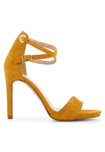 Minelli yellow F93 115/VEL Velvet Strap Sandals - Talie MI352SH0FJERSG_1
