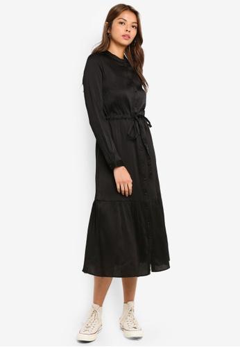 Pieces black Ofina Long Sleeve Dress 04A59AA31B0722GS_1