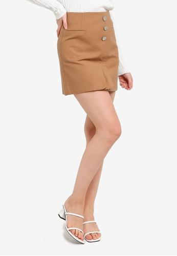 Hopeshow brown Front Flap A-Line High Waist Mini Skirt 9231AAAA1175F1GS_1