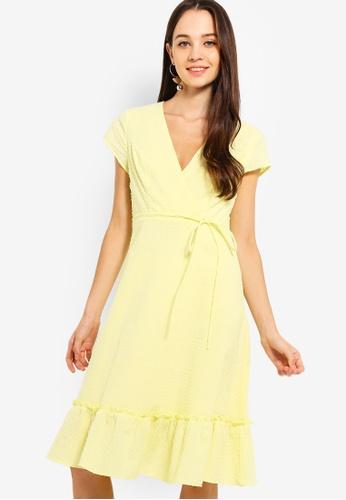 Something Borrowed yellow Ruffles Hem Midi Wrap Dress EA50EAA8A60797GS_1