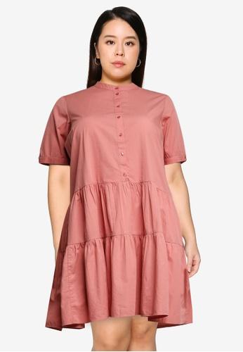 Vero Moda pink Plus Size Short Sleeve Mini Dress 68215AA6002CB1GS_1