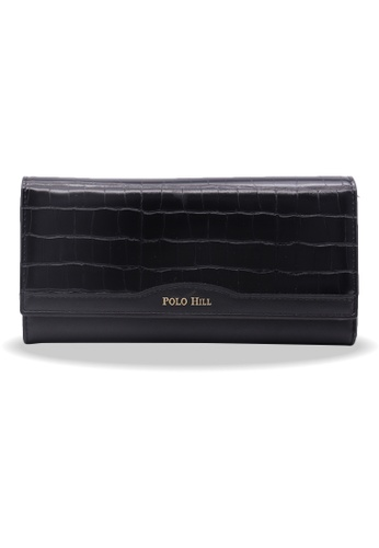 Polo Hill black Polo Hill Ladies Textured Flap Long Wallet 020ADACE35F8FAGS_1