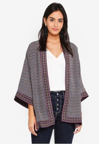 Max Studio multi and navy Woven Short Sleeve Kimono B1263AA3339E8CGS_1