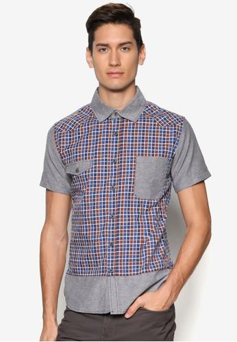 拼色格紋短袖襯衫, 服飾, esprit taiwan襯衫