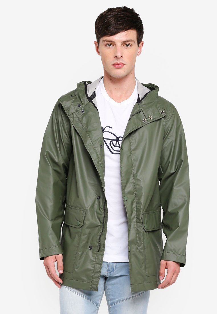 Rubber Jacket Green Hooded Connection French Coating Infantry 77Hqwrg