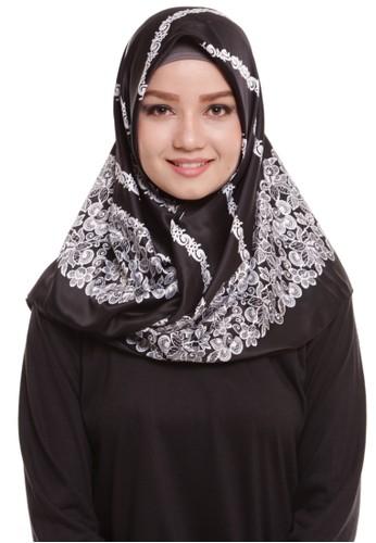 Mybamus Carving Square Hijab Satin Black