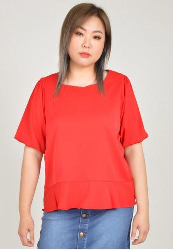 Cheetah red Arissa Plus Size Puffed Short Sleeve Blouse - ARS-13576 2E639AA83CB1EDGS_1