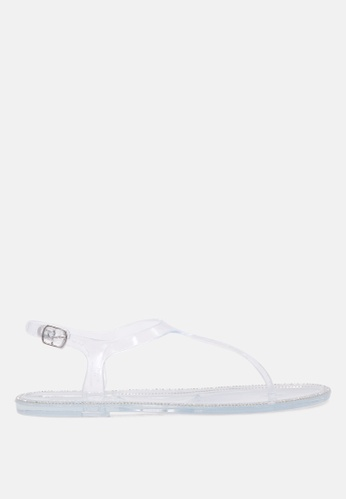 London Rag 白色 水晶透明T-带夹脚扣闭凉鞋 623DCSH227A3B1GS_1