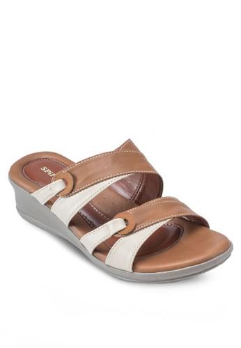雙色露趾esprit 香港楔形涼鞋, 女鞋, 楔形涼鞋