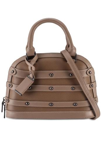 Unisa brown Studded Shell Shape Top Handle Bag 1FA48AC6BBC607GS_1