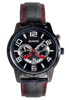 Curren 8140 Black PU Leather Quartz Watch