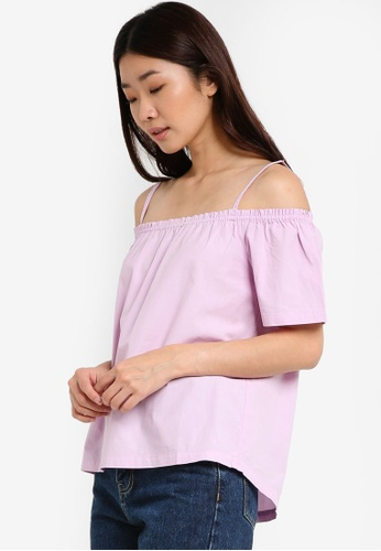 Dorothy Perkins purple Lilac Frill Cold-Shoulder Top DO816AA89SVAMY_1