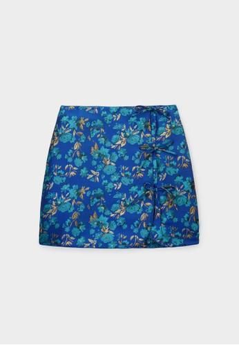 Pomelo blue Bow Detail Flower Print Skirt - Blue 4432FAAA1DD12CGS_1