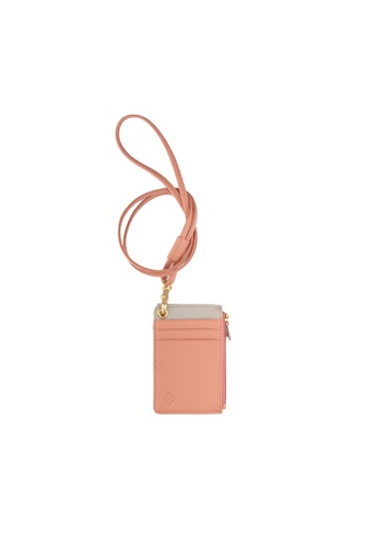 Samuel Ashley pink Samuel Ashley Cody Leather ID Card Case with Zip pocket & Lanyard - Ash Rose 143ABACEE463CFGS_1
