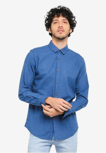ZALORA blue Contrast Stitchline Casual Long Sleeve Shirt 60C72AA5D11C2BGS_1