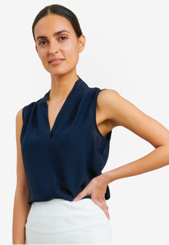 FORCAST navy Alivia V-Neck Top 61619AA67F33DDGS_1