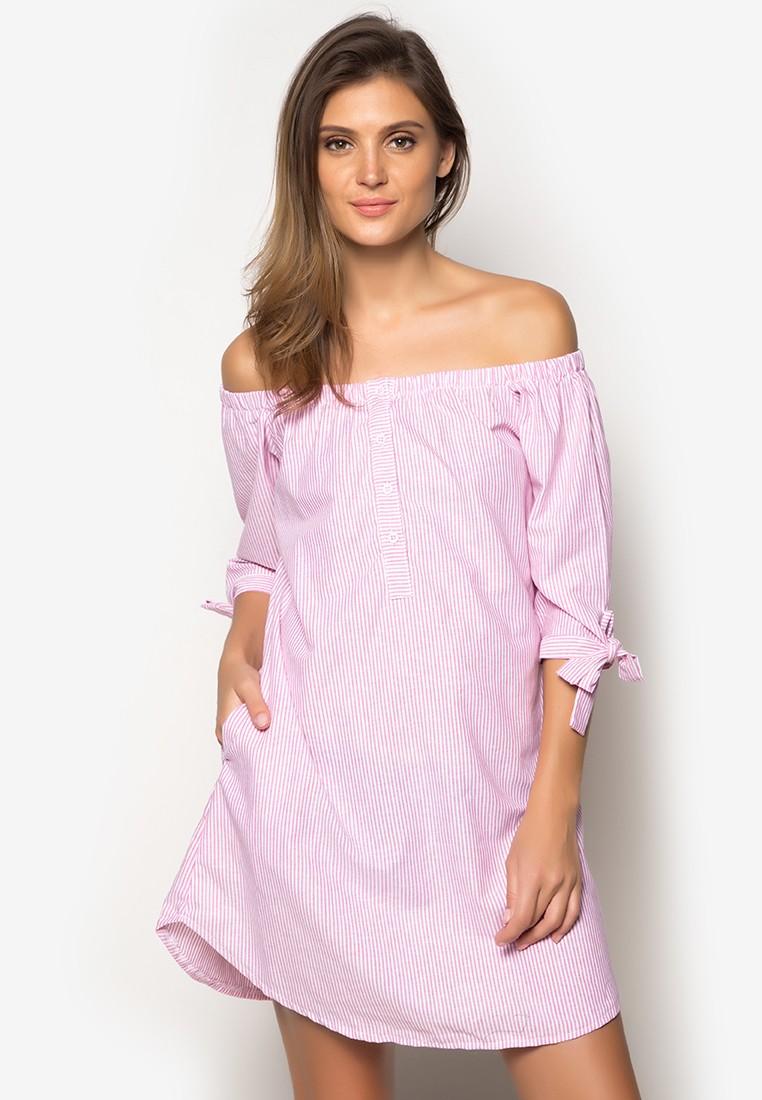 Off Shoulder Open Button Dress With Pocket