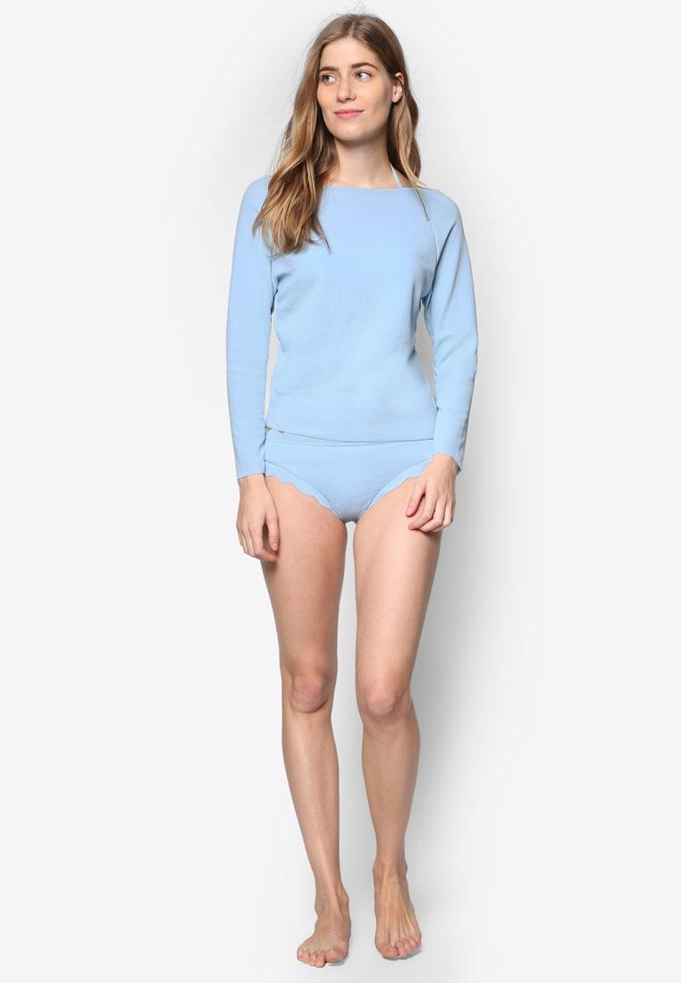 Piece Pastel Hem N' PINK Long Scallop Sleeve Three PROPER Thalassa Blue Swimsuit wgnO41Z