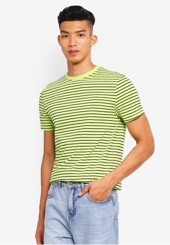 Topman 綠色 短袖條紋T恤 EEE77AAFD10FF5GS_1