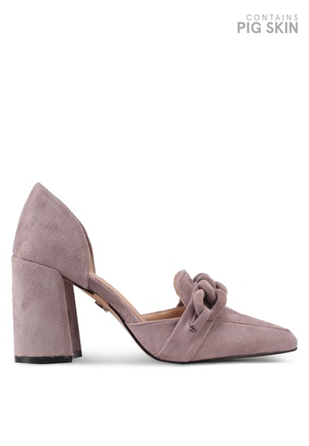 LOST INK purple Priya Covered Chain Heeled Loafers LO238SH0T1R4MY_1