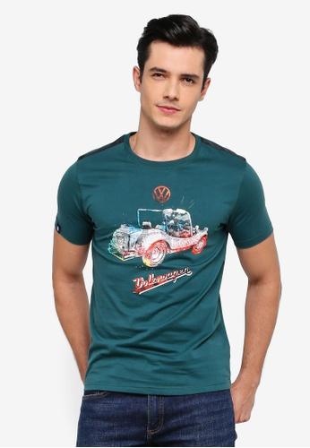 Volkswagen 綠色 短袖休閒T恤 32D78AA1DA8AB4GS_1