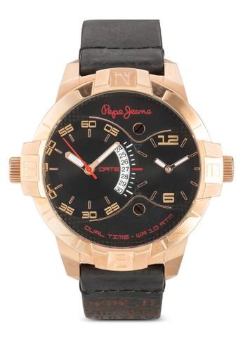 R23511070esprit旗艦店01 Marlon  雙時區皮革男士圓錶, 錶類, 飾品配件