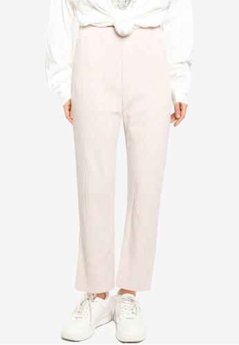 LOWRYS FARM white Ribbed Knit Pants 6F160AA35CAD19GS_1
