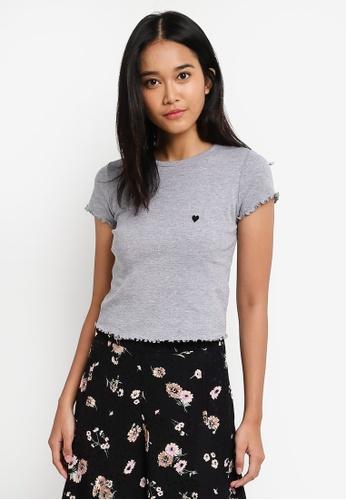 TOPSHOP grey Short Sleeve Lettuce Heart T-Shirt D2770AA4BA627CGS_1
