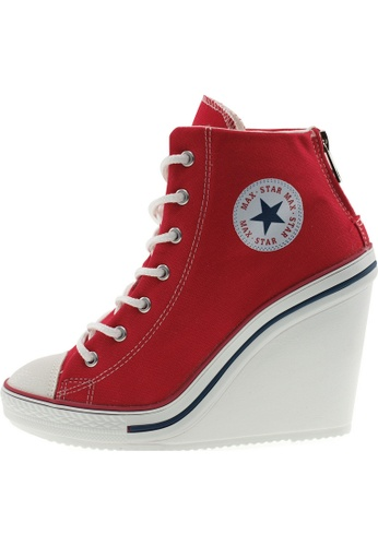 Maxstar 紅色 新款韩国鞋777-BZ時尚帆布布混合女紅色 US Women Size MA345SH28GSDTW_1
